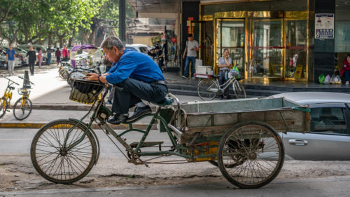 bike delivery rider in xi'an china